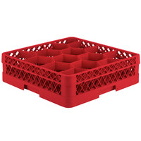 Vollrath TR18A Traex Rack Max Full-Size Red 12-Compartment 4 13/16 inch Glass Rack with Open Rack Extender On Top