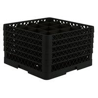 Vollrath TR8DDDDD Traex® Full-Size Black 16-Compartment 11 inch Glass Rack