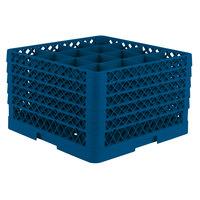 Vollrath TR8DDDDD Traex® Full-Size Royal Blue 16-Compartment 11 inch Glass Rack