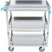 Lakeside 526 Stainless Steel Three Shelf Guard Rail Utility Cart - 31 inch x 19 inch x 33 3/4 inch