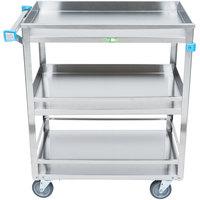 Lakeside 526 Stainless Steel Three Shelf Guard Rail Utility Cart - 31 inch x 19 inch x 33 3/4 inch