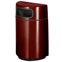Rubbermaid FGH2436 Half Round Open Front Maroon Fiberglass Waste Receptacle with Rigid Plastic Liner 18 Gallon (FGFGH2436PLMN)