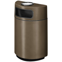 Rubbermaid FGH2436SU Half Round Open Front Bronze Fiberglass Waste Receptacle with Rigid Plastic Liner and Sand Urn Cap Ash Tray 18 Gallon (FGFGH2436SUPLBZ)