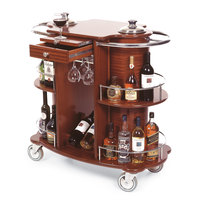 Geneva 70260 Beverage Service Cart with 2 Shelves and Bordeaux Veneer Finish - 39 3/8 inch x 19 5/8 inch x 40 1/2 inch