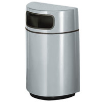 Rubbermaid FGH2436 Half Round Open Front Warm Gray Fiberglass Waste Receptacle with Rigid Plastic Liner 18 Gallon (FGFGH2436PLWMG)