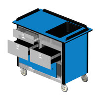 Lakeside 69030 Stainless Steel Beverage Service Cart with 3 Drawers and Royal Blue Laminate Finish - 26 inch x 44 1/2 inch x 37 3/4 inch