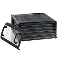 Excalibur 3526TCDB Black Five Rack Food Dehydrator with Clear Door and Timer - 440W