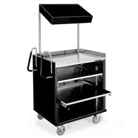 Lakeside 660 4 Shelf Stainless Steel Compact Vending Cart with Black Laminate Finish - 28 1/4 inch x 49 inch x 72 1/4 inch