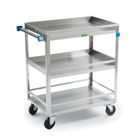 Lakeside 730 Stainless Steel Three Shelf Heavy Duty Guard Rail Utility Cart - 38 5/8 inch x 22 3/8 inch x 37 1/4 inch