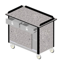 Lakeside 69020 Stainless Steel Beverage Service Cart with 2 Utility Drawers and Gray Sand Laminate Finish - 26 inch x 44 1/2 inch x 37 3/4 inch