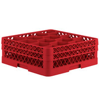 Vollrath TR18JJ Traex Rack Max Full-Size Red 12-Compartment 6 3/8 inch Glass Rack
