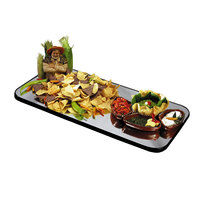 Geneva 273 Rectangular Rimless Mirror Food Display Tray - 12 inch x 24 inch