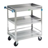 Lakeside 726 Stainless Steel Three Shelf Heavy Duty Guard Rail Utility Cart - 32 5/8 inch x 19 3/8 inch x 34 1/2 inch