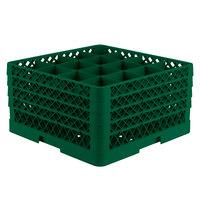 Vollrath TR8DDDD-19 Traex® Full-Size Green 16-Compartment 11 inch Glass Rack