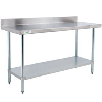 Regency 24 inch x 48 inch 18-Gauge 304 Stainless Steel Commercial Work Table with 4 inch Backsplash and Galvanized Undershelf