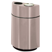 Rubbermaid FGH2436SUT Half Rounds Open-Top Greige Fiberglass Waste Receptacle with Rigid Plastic Liner and Sand Urn Cap Ash Tray 24 Gallon (FGFGH2436SUTPLGE)