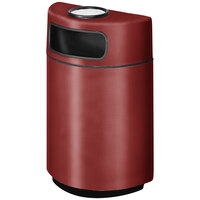 Rubbermaid FGH2436SU Half Round Open Front Burgundy Fiberglass Waste Receptacle with Rigid Plastic Liner and Sand Urn Cap Ash Tray 18 Gallon (FGFGH2436SUPLBY)