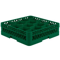 Vollrath TR18J Traex Rack Max Full-Size Green 12-Compartment 4 13/16 inch Glass Rack