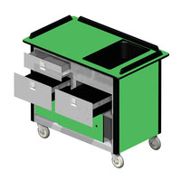 Lakeside 69030 Stainless Steel Beverage Service Cart with 3 Drawers and Green Laminate Finish - 26 inch x 44 1/2 inch x 37 3/4 inch