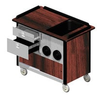 Lakeside 69010 Stainless Steel Beverage Service Cart with 2 Drawers, 2 Cup Dispensers, and Victorian Cherry Laminate Finish - 26 inch x 44 1/2 inch x 37 3/4 inch