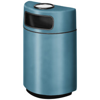 Rubbermaid FGH2436SU Half Round Open Front Country Blue Fiberglass Waste Receptacle with Rigid Plastic Liner and Sand Urn Cap Ash Tray 18 Gallon (FGFGH2436SUPLCBL)
