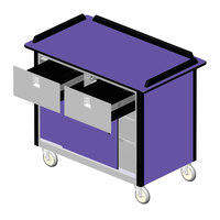 Lakeside 69040 Stainless Steel Beverage Service Cart with 2 Drawers and Purple Laminate Finish - 26 inch x 44 1/2 inch x 37 3/4 inch