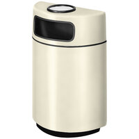 Rubbermaid FGH2436SU Half Round Open Front Almond Fiberglass Waste Receptacle with Rigid Plastic Liner and Sand Urn Cap Ash Tray 18 Gallon (FGFGH2436SUPLAL)