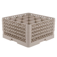 Vollrath TR8DDDA Traex® Full-Size Beige 16-Compartment 9 7/16 inch Glass Rack with Open Rack Extender On Top