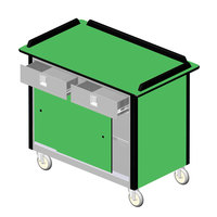 Lakeside 69020 Stainless Steel Beverage Service Cart with 2 Utility Drawers and Green Laminate Finish - 26 inch x 44 1/2 inch x 37 3/4 inch