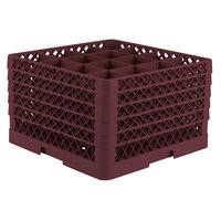 Vollrath TR8DDDDD Traex® Full-Size Burgundy 16-Compartment 11 inch Glass Rack