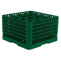 Vollrath TR8DDDDA Traex Full-Size Green 16-Compartment 11 inch Glass Rack with Open Rack Extender On Top