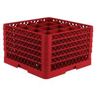 Vollrath TR8DDDDD Traex Full-Size Red 16-Compartment 11 inch Glass Rack