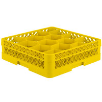 Vollrath TR18A Traex Rack Max Full-Size Yellow 12-Compartment 4 13/16 inch Glass Rack with Open Rack Extender On Top