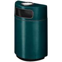 Rubbermaid FGH2436SU Half Round Open Front Hunter Green Fiberglass Waste Receptacle with Rigid Plastic Liner and Sand Urn Cap Ash Tray 18 Gallon (FGFGH2436SUPLHGN)