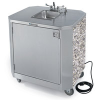 Lakeside 9610GS Portable Self-Contained Stainless Steel Hand Sink Cart with Hot & Cold Water Faucet, Soap Dispenser, and Gray Sand Finish - 120V