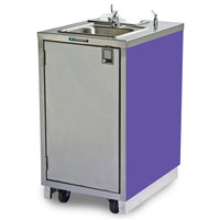 Lakeside 9620P Portable Self-Contained Stainless Steel Hand Sink Cart with Hot Water Faucet, Soap Dispenser, and Purple Finish - 120V