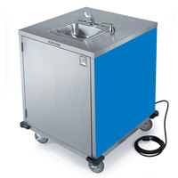 Lakeside 9600BL Portable Self-Contained Stainless Steel Hand Sink Cart with Cold Water Faucet, Soap Dispenser, and Royal Blue Finish - 115V