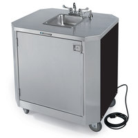Lakeside 9610B Portable Self-Contained Stainless Steel Hand Sink Cart with Hot & Cold Water Faucet, Soap Dispenser, and Black Vinyl Finish - 120V