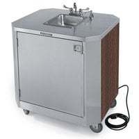 Lakeside 9610W Portable Self-Contained Stainless Steel Hand Sink Cart with Hot & Cold Water Faucet, Soap Dispenser, and Walnut Finish - 120V