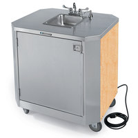 Lakeside 9610HRM Portable Self-Contained Stainless Steel Hand Sink Cart with Hot & Cold Water Faucet, Soap Dispenser, and Hard Rock Maple Finish - 120V