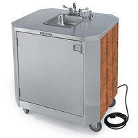 Lakeside 9610 Portable Self-Contained Stainless Steel Hand Sink Cart with Hot & Cold Water Faucet, Soap Dispenser, and Victorian Cherry Finish - 120V