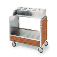Lakeside 603VC Stainless Steel Silverware / Tray Cart with 10 Hole Flatware Bin and Victorian Cherry Finish - 22 1/4 inch x 36 1/4 inch x 39 3/4 inch