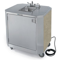 Lakeside 9610 Portable Self-Contained Stainless Steel Hand Sink Cart with Hot & Cold Water Faucet, Soap Dispenser, and Beige Suede Finish - 120V