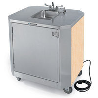 Lakeside 9610 Portable Self-Contained Stainless Steel Hand Sink Cart with Hot & Cold Water Faucet, Soap Dispenser, and Light Maple Finish - 120V