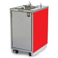 Lakeside 9620RM Portable Self-Contained Stainless Steel Hand Sink Cart with Hot Water Faucet, Soap Dispenser, and Red Finish - 120V