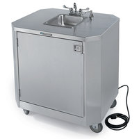 Lakeside 9610 Portable Self-Contained Stainless Steel Hand Sink Cart with Hot & Cold Water Faucet and Soap Dispenser - 120V