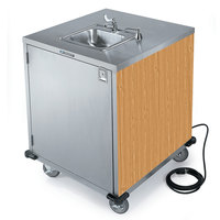 Lakeside 9600LM Portable Self-Contained Stainless Steel Hand Sink Cart with Cold Water Faucet, Soap Dispenser, and Light Maple Finish - 115V