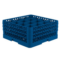 Vollrath TR8DDA Traex® Full-Size Royal Blue 16-Compartment 7 7/8 inch Glass Rack with Open Rack Extender On Top