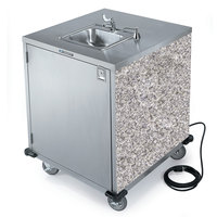 Lakeside 9600GS Portable Self-Contained Stainless Steel Hand Sink Cart with Cold Water Faucet, Soap Dispenser, and Gray Sand Finish - 115V