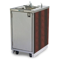 Lakeside 9620RD Portable Self-Contained Stainless Steel Hand Sink Cart with Hot Water Faucet, Soap Dispenser, and Red Maple Finish - 120V